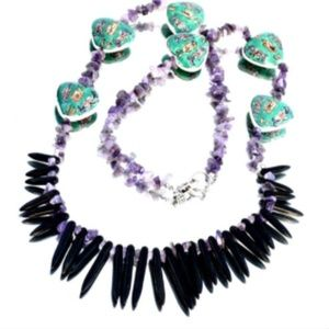 Amethyst Necklace Green Beaded Fringe Spiked Spike